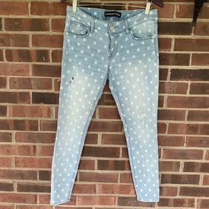 Like new Express Stella polka dot skinny jeans